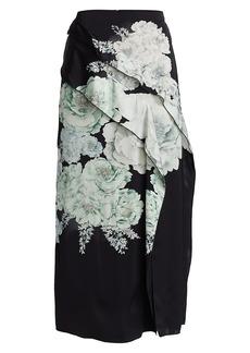 Jason Wu Bouquet Floral Satin Slit Skirt