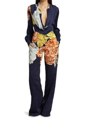 Jason Wu Bouquet Floral Satin Wide-Leg Pants