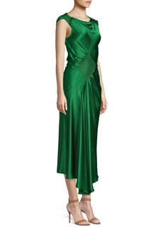Jason Wu Charmeuse Bias-Cut Smocked Dress