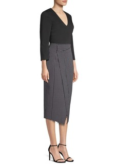 Jason Wu Check Crepe Asymmetric Dress
