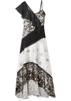 Jason Wu Chiffon-trimmed Floral-print Silk-satin Maxi Dress