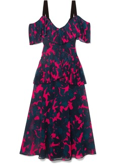 Jason Wu Cold-shoulder Pleated Floral-print Chiffon Midi Dress