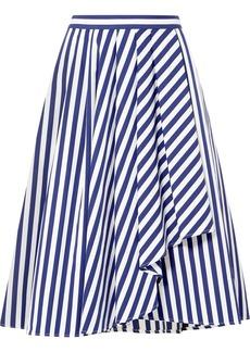 Jason Wu Draped Striped Cotton-poplin Skirt