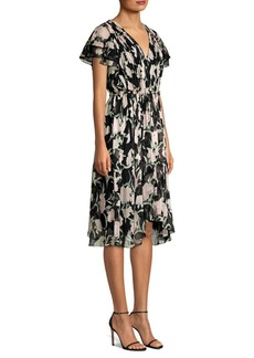 Jason Wu Floral Chiffon Cascade Sleeve Dress