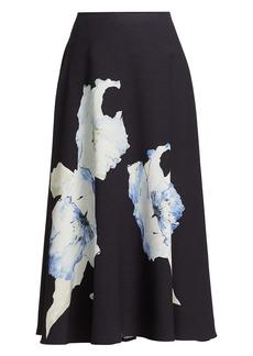 Jason Wu Floral Knit A-Line Midi Skirt