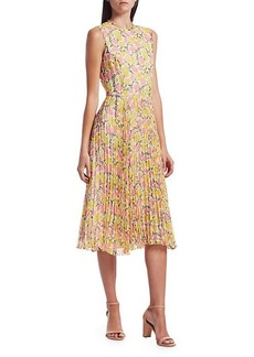 Jason Wu Floral Plissé Chiffon Midi Dress
