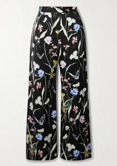Jason Wu Floral-print Matte-satin Straight-leg Pants