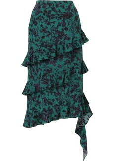 Jason Wu floral-print ruffled silk midi skirt