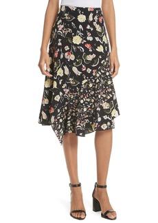 GREY Jason Wu Painterly Floral Asymmetrical Silk Skirt