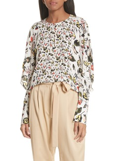 GREY Jason Wu Painterly Floral Print Silk Top