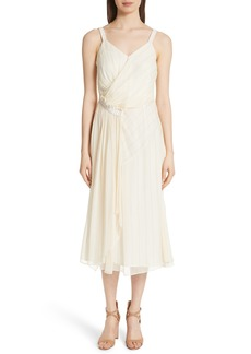 GREY Jason Wu Painterly Stripe Ruffle Silk Dress