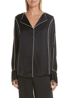 GREY Jason Wu Piped Silk Charmeuse Blouse