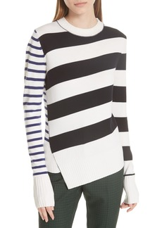 GREY Jason Wu Queen Asymmetrical Stripe Merino Wool Sweater