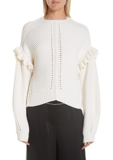 GREY Jason Wu Ruffle Trim Merino Wool Sweater