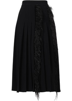 Jason Wu high-rise pleated feather-trimmed skirt