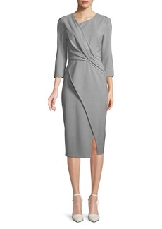 Jason Wu Asymmetric-Neck Bracelet-Sleeve Wrap-Style Dress