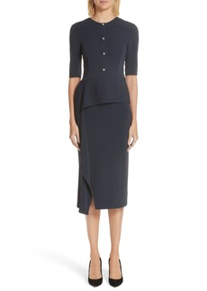 Jason Wu Asymmetrical Ruffle Waist Crepe Sheath Dress
