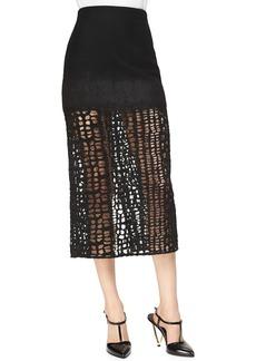 Jason Wu Cashmere-Blend Lace Combo  Midi Skirt
