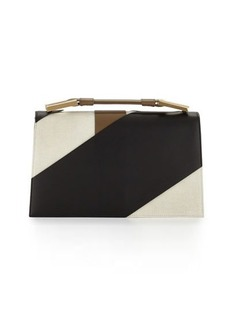 Jason Wu Charlotte Origami Canvas & Leather Evening Clutch Bag