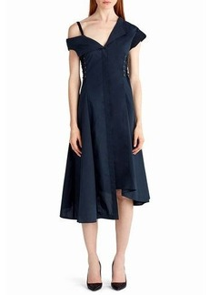 Jason Wu Cold-Shoulder Cotton Midi Dress with Lace-Up Sides