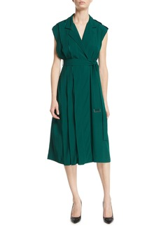 Jason Wu Collection Cap-Sleeve Belted Crepe Back Satin Wrap Dress