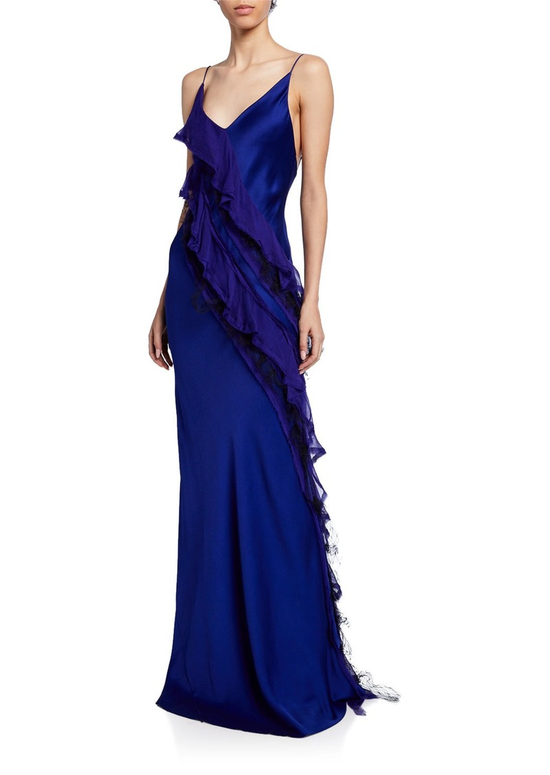 Jason Wu Collection Cascading Satin Ruffled Gown