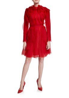 Jason Wu Collection Crinkled Organza Long-Sleeve Cocktail Dress