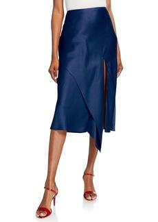 Jason Wu Collection Draped Satin Midi Skirt