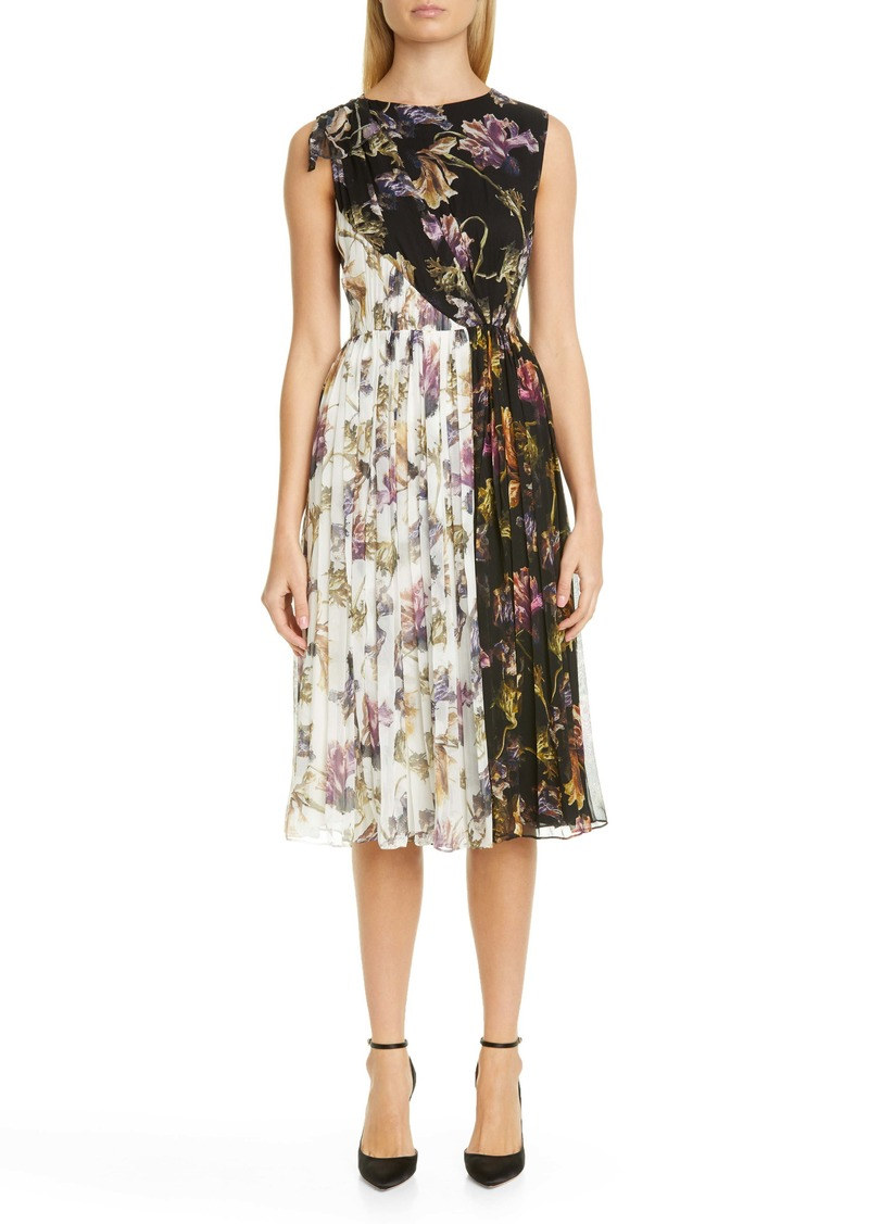 Jason Wu Collection Floral Print Colorblock Crinkle Silk Chiffon Dress