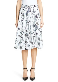 Jason Wu Collection Floral Print Cotton Skirt