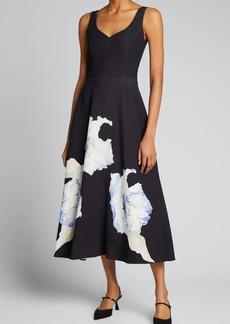 Jason Wu Collection Floral Print Crepe Midi Dress