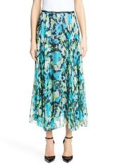 Jason Wu Collection Floral Print Pleated Chiffon Skirt