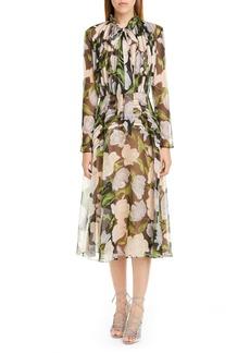 Jason Wu Collection Floral Silk Long Sleeve Midi Dress
