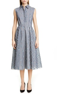 Jason Wu Collection Floral Stripe Cotton & Silk Dress
