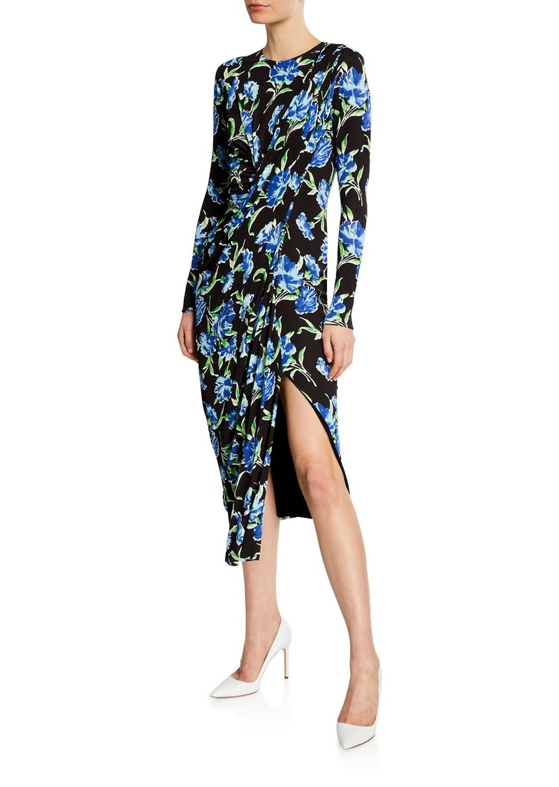 Jason Wu Collection Long-Sleeve Floral Draped Jersey Dress