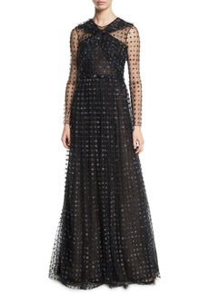 Jason Wu Collection Organza Dot-Embroidered Tulle Evening Gown