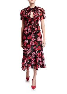 Jason Wu Collection Ruffled Floral-Print Crinkled Chiffon Dress