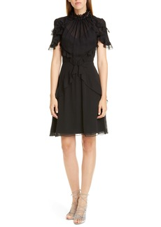 Jason Wu Collection Sequin Neck Ruffle Silk Chiffon Dress