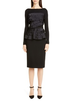 Jason Wu Collection Taffeta Trim Jersey Long Sleeve Dress