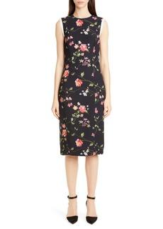 Jason Wu Collection Vine Floral Stretch Crepe Sheath Dress