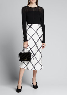 Jason Wu Collection Windowpane Print Silk Crepe de Chine Midi Skirt