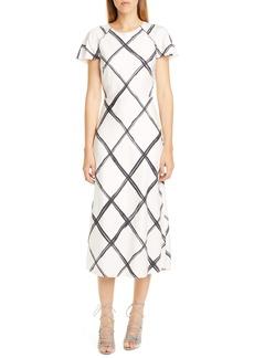 Jason Wu Collection Windowpane Print Silk Crêpe de Chine Midi Dress