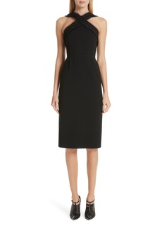 Jason Wu Compact Crepe Ruffle Trim Dress