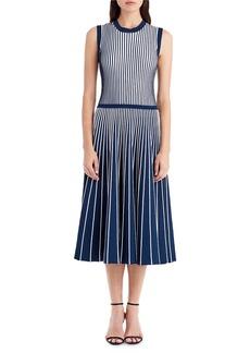 Jason Wu Crewneck Sleeveless Contrast Inserts Midi Knit Dress