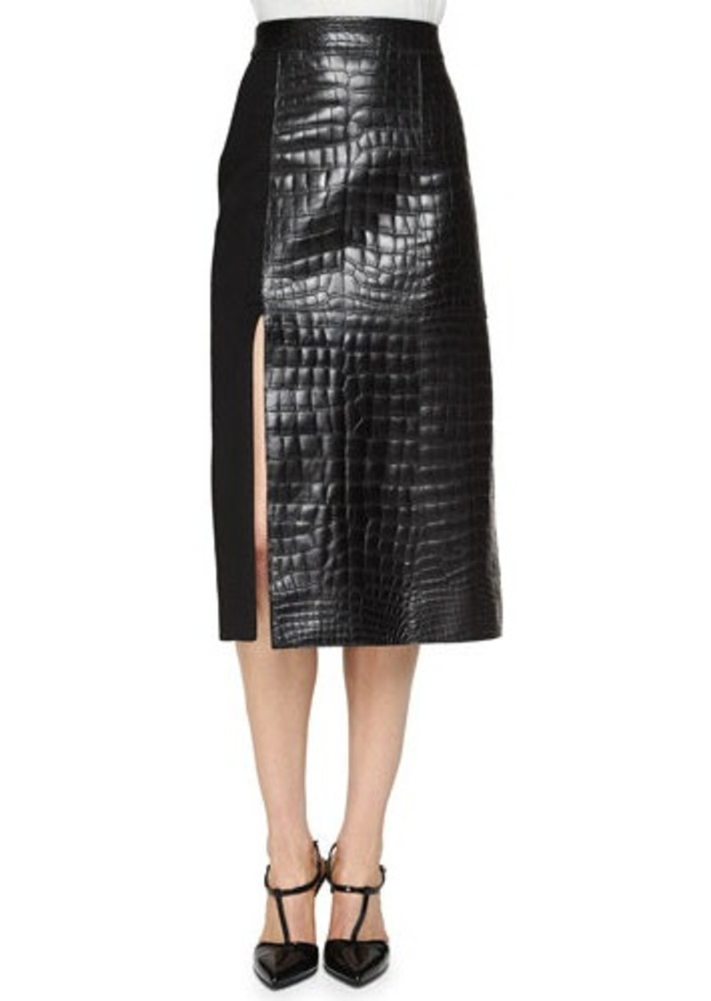 Jason Wu Croc-Embossed Leather Paneled Skirt