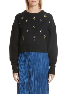 Jason Wu Crystal Embellished Merino Wool Blend Sweater
