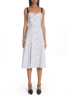Jason Wu Dobby Stripe Cotton Poplin A-Line Dress