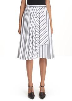 Jason Wu Dobby Stripe Cotton Poplin A-Line Skirt