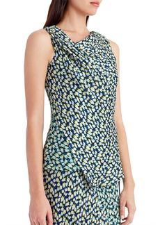 Jason Wu Draped Floral-Print Silk Blouse