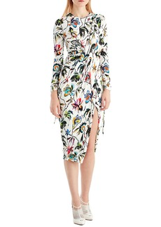 Jason Wu Drawstring-Sleeve Floral-Print Jersey Day Dress w/ Slit